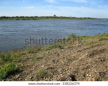 There are pebble on bank of a river and green plants. Summer - stock photo