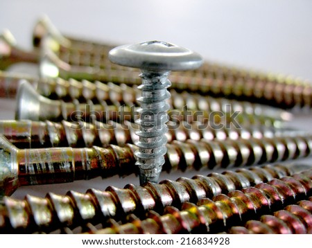 There are some metal screws. Macro - stock photo