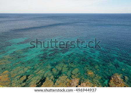 There are transparent shoal water with small waves and the rocky coast in the Corsican seashore.