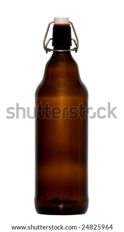 There is a brown bottle in white background