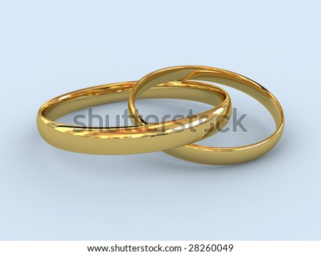 There is a gold wedding rings - stock photo