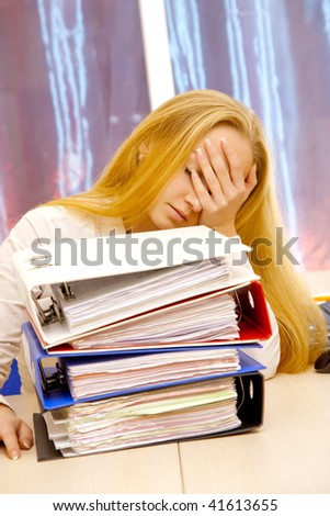 There is a lot of paper work in the office. - stock photo