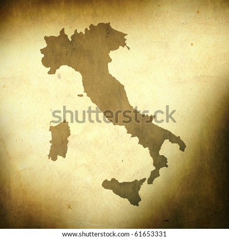 There is a map of Italy on grunge paper background - stock photo