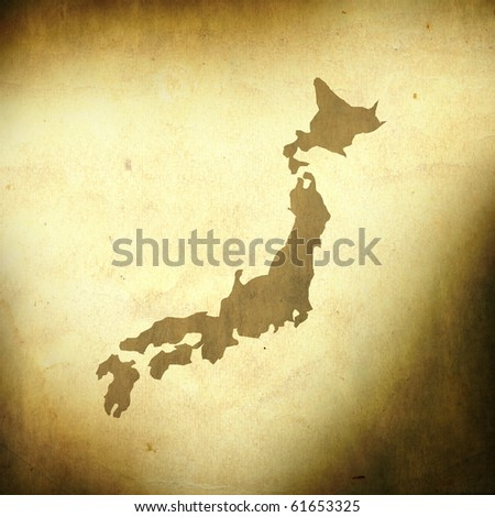 There is a map of Japan on grunge paper background - stock photo