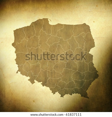 There is a map of Poland on grunge paper background