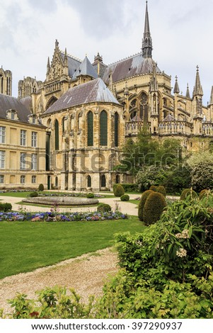 There is backside of the Reims Cathedral and garden of the Archbishop of Reims May 15, 2013 in Reims, France.