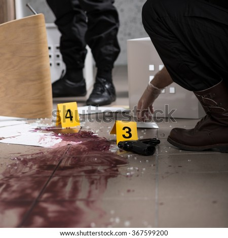 There is no body found at the crime scene - stock photo
