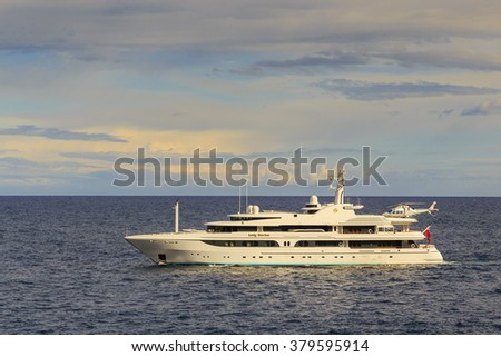 There's boat trip near coast of French riviera in May 21,  2015.