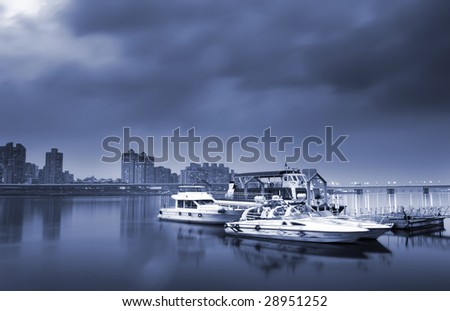 There were some boats on the dock. - stock photo