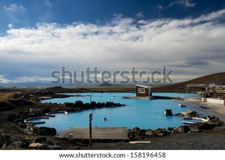 Thermal bath at Myvatn. - stock photo