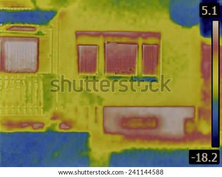 Thermal Image of a Heat Loss from Basement - stock photo
