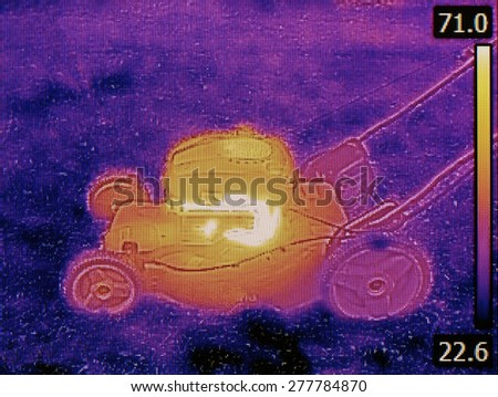 Thermal Image of LawnMower Failure Detection - stock photo