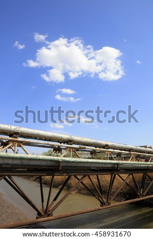 Thermal insulation pipe under blue sky