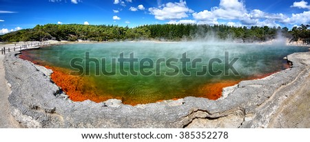 Thermal lake Champagne Pool at Wai-O-Tapu, New Zealand - Panorama - stock photo