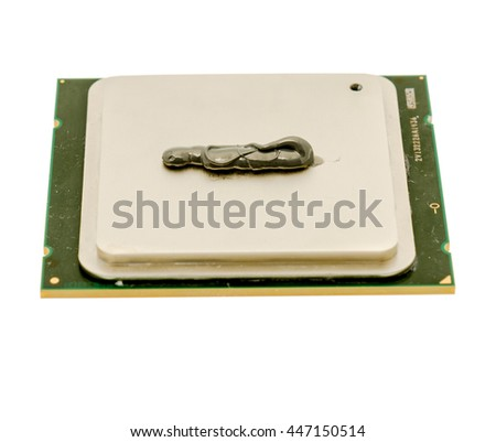 Thermal paste applied on a CPU isolated on white background - stock photo