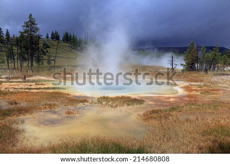 Thermal pools in Yellowstone, Wyoming, USA. - stock photo