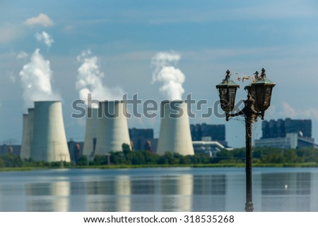 Thermal power plant, Cottbus, Germany. Global warming and environmental pollution, climate change.  - stock photo