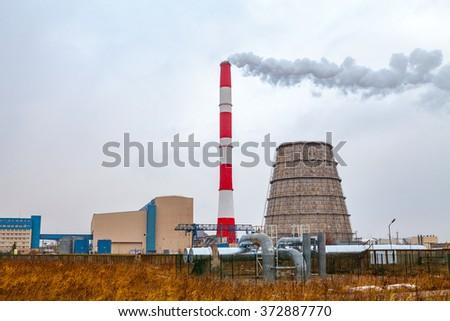 Thermal power plant near Tallinn, Estonia - stock photo