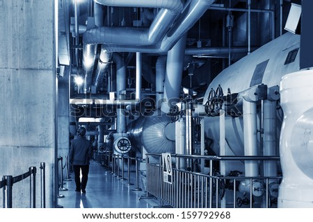 Thermal power plant piping and instrumentation, modern factory machinery. - stock photo