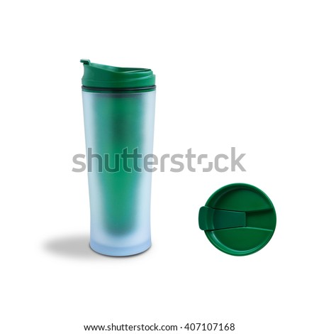 Thermo cup isolated on white background. Top and  side view - stock photo