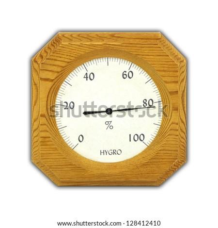 Thermo hygrometer  on white background - stock photo