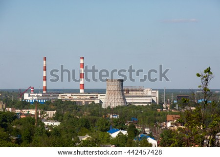 thermoelectric power station with cooling tower - stock photo