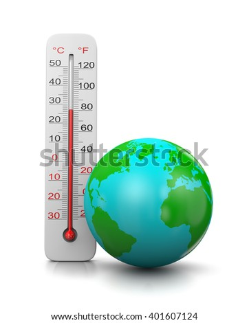 Thermometer Close to the Earth on White Background 3D Illustration, Global Temperature Concept - stock photo