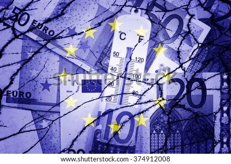 Thermometer, euros, EU flag and cracks - Finance/Business concept - stock photo