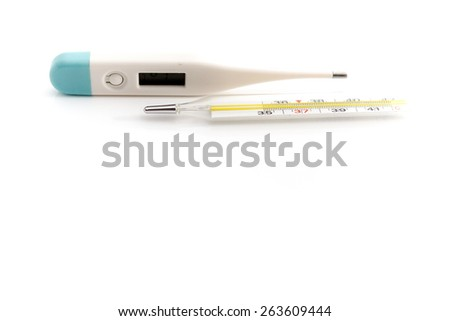 Thermometer for body temperature on the white background, for people health