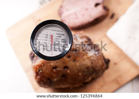 Thermometer for meat view from above - stock photo