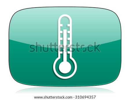 thermometer green icon temperature sign