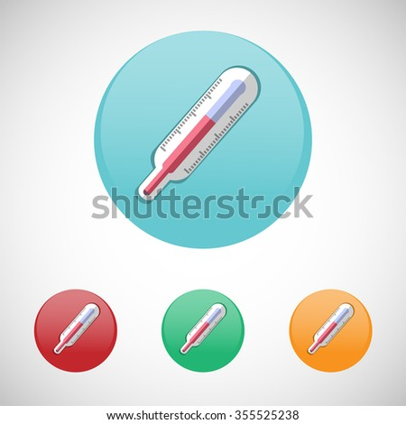 Thermometer. Healthcare. Digital background medical raster icon set isolated on colorful round buttons. - stock photo