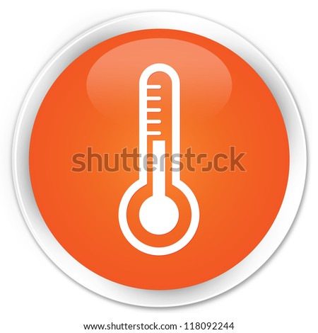 Thermometer icon orange button - stock photo