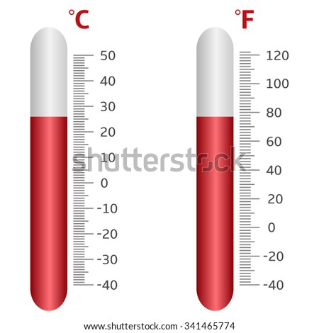 Thermometer icons, Celsius and Fahrenheit.  Raster illustration - stock photo