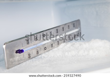 Thermometer on ice, global warming