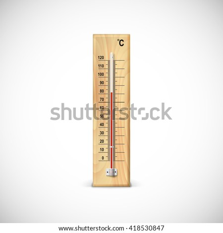Thermometer on wooden base with celsius scale. Icon for your design.