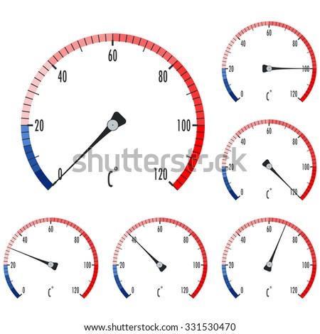 Thermometer. Round icon. Raster version. Illustration isolated on white. - stock photo