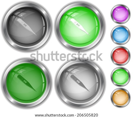 Thermometer. Shows 40 degrees Celsius. Raster internet buttons.  - stock photo