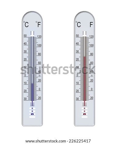 thermometer, two variants - the temperature is below zero, the temperature is above zero