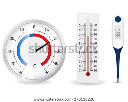 Thermometers.  isolated on white background. Raster version - stock photo