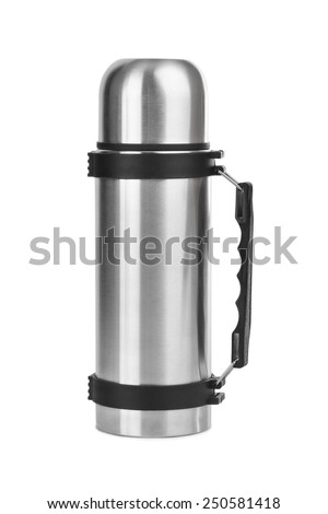 Thermos flask isolated on white background - stock photo