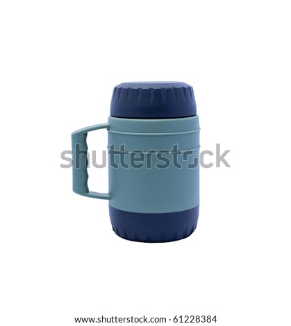 Thermos isolated on a white background - stock photo