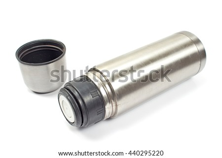 Thermos metal flask isolated on white  - stock photo
