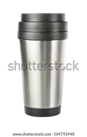 Thermos travel tumbler, cup. Closeup. - stock photo