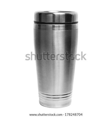 Thermos travel tumbler, cup. Closeup. - stock photo