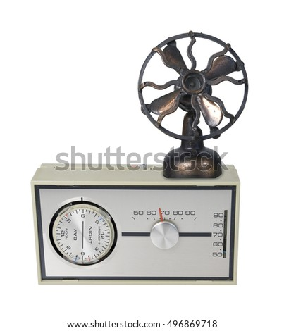 Thermostat Furnace dial with day and night timer dial with temperature reading with a large fan - path included