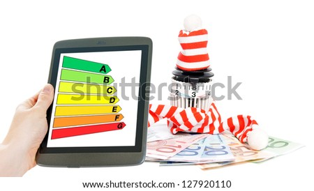 Thermostat with euro banknotes and hat / energy Efficiency - stock photo