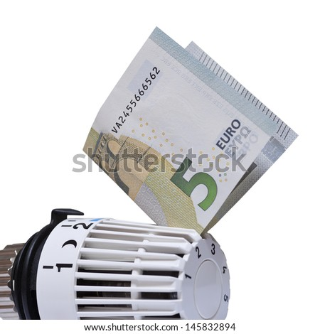 Thermostat with 5 euro. Heating costs  - stock photo
