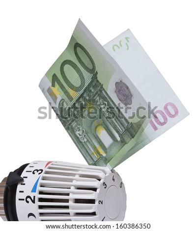 Thermostat with 100 euro. Heating costs concept. - stock photo