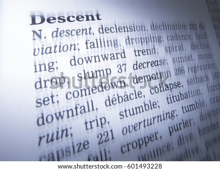 THESAURUS PAGE SHOWING DEFINITION OF WORD DESCENT, TAKEN IN CLECKHEATON, WEST YORKSHIRE, UK, 30TH MARCH 2005